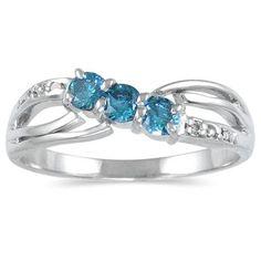 Three Stone Blue Diamond Ring in 14K White Gold