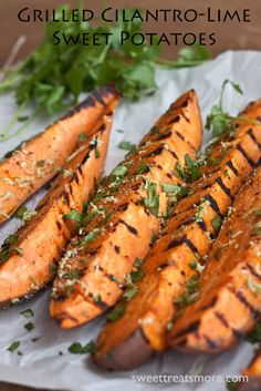 Grilled Cilantro-Lime Sweet Potatoes.  Yum!  Was pouring rain so just roasted the potatoes but the lime mixture is delicious!