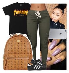 """I need that shirt"" by melaninmonroee ❤ liked on Polyvore featuring GET LOST, MCM and adidas Originals"