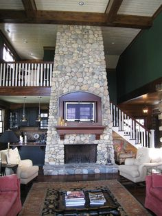 Cool river rock fireplace