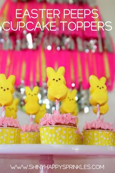 Easter Peeps Cupcake Toppers -- Such a cute decoration for Easter. | shinyhappysprinkles.com