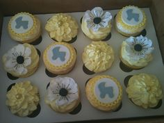 Yellow and Gray baby shower cupcakes by Erin Salerno, via Flickr.  LOVE THESE!