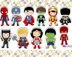 50 Apliques Super Heróis - 3,5 cm