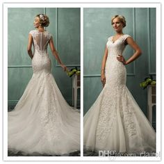 AmeliaSposa 2014 Lanta cap sleeve Chapel Train fit and flare gown Mermaid Sheer Deep -V Lace Buttons Wedding Dresses Bridal Gown