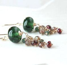Gold Cluster   Earrings  Gemstone Jewelry Multi Gemstone