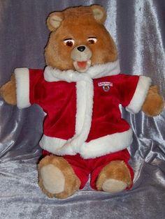Vintage 1985 Christmas Teddy Ruxpin Animated Talking Plush Santa Bear 1 Cassette