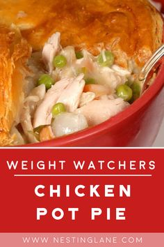Jan 2020 - Weight Watchers Chicken Pot Pie Recipe - A lighter, easier version of the classic comfort food recipe with boneless skinless chicken breast, cream of mushroom soup, and Bisquick. Ww Chicken Pot Pie Recipe, Best Chicken Salad Recipe, Healthy Chicken Pot Pie, Chicken Pot Pie Casserole, Homemade Chicken Pot Pie, Chicken Recipes, Chicken Soup, Weight Watchers Chicken, Weight Watchers Meals