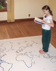 Print out maps in a variety of sizes, from a single sheet of paper to a map almost 7 feet across, using an ordinary printer. You can print single page maps, or maps 2 pages by 2 pages, 3 pages by 3 pages, etc. up to 8 pages by 8 pages (64 sheets of paper; over six feet across!).