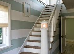 Love the stripes and the lighthouse banister!  must do for the beach house....you know, the one in my dreams :)