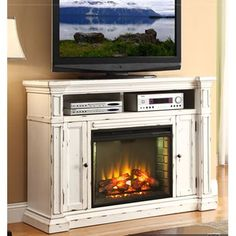 """58"""" Antique White Fireplace Console - New Castle"""