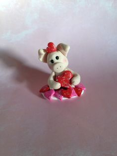 Polymer Clay Pig - Valentine Pig - Pig Collecitble - Pig Gift - Valentine's Day Decor - Pig Figurine - Clay Hearts on Etsy, $16.50