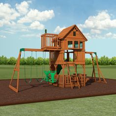 Genial Skyfort II Wooden Swing Set