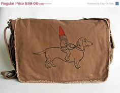 VALENTINES DAY SALE Gnome and Dachshund Messenger Bag--Screen Printed Cotton Canvas by Viva Sweet Love on Etsy, $32.30