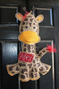 Giraffe burlap Baby door hanger  hospital  wreath by Cutipiethis on etsy by ophelia