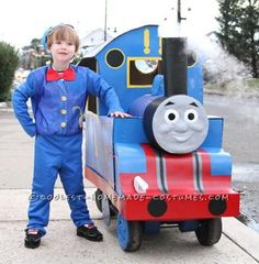 This is the Thomas the Tank Engine costume I made for my son this past Halloween. The chassis is a Little Tykes wagon, with the pull handle at the bac...