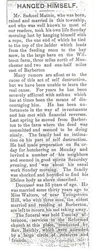 1896 obituary #3 for Samuel Russell Mathie, my great-great-grandfather. This occurred in Barberton, Summit Co., Ohio.