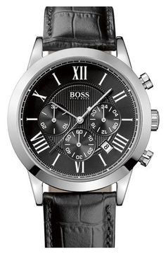 BOSS HUGO BOSS Leather Strap Round Chronograph Watch, 43mm | Nordstrom
