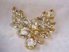 Vintage Pin Brooch Juliana Clear Diamond Open Back by vintagelady7