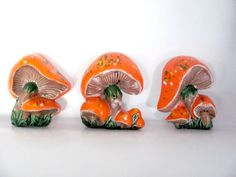 Vintage Mushroom Wall Plaques Ceramic by ThirstyOwlVintage on Etsy