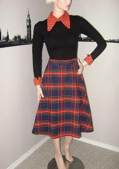 SALE Rockabilly Plaid Circle Skirt Vintage by PopcornVintageByTann…