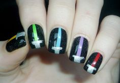 star wars Nail Designs | Lightsaber Nails by Moustache Manis