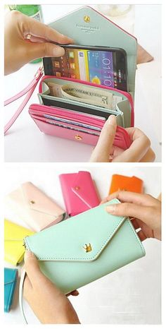 Cash, card, phone all in a small wallet and it can be so easy to carry and so convenient to go! Diy Wallet Phone Case, Clutch Wallet, Pouch, Phone Cases, What In My Bag, Small Wallet, Wallets For Women, Purses And Handbags, Bag Accessories