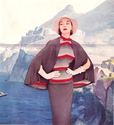 Jean Patchett in an Enka rayon ad as seen in Harper's Bazaar, 1951 50s dress cape stripes red grey skirt top photo color print ad fashion model magazine