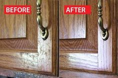 Several ideas to clean grungy kitchen cabinet doors; not sure if they work, but worth a try...