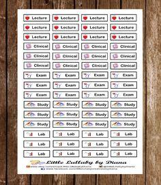 Nursing School Planner Stickers Erin by ThePoliceWifePlanner Nursing Planner, Nursing Tips, Nursing Notes, Nursing Career, School Goals, Pa School, Planner Organization, School Organization, Organizing