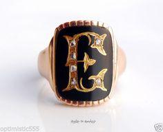 Evas-Antique-Signet-Men-Unisex-Ring-solid-14K-Rose-Gold-Onyx-Diamond-Size-7US