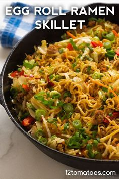 Egg Roll Ramen Skillet Quick, easy, and the best of both worlds. Ramen Recipes, Pork Recipes, Asian Recipes, Chicken Recipes, Cooking Recipes, Dinner Recipes, Healthy Recipes, Cooking Shop, Healthy Food
