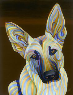 Colorful Animal Paintings, Colorful Animals, Belgium Malinois, Ap Studio Art, Pet Art, Bow Wow, Stencil Patterns, Dog Paintings, Xmas Crafts