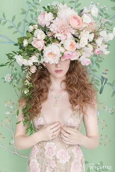 A lush garden like floral headpiece full of roses, peonies and dahlias. Blush tones, peach and ivory. In Full Bloom by August In Bloom - Wedluxe Editorial Floral Headdress, Flower Headpiece, Headpiece Wedding, Bridal Headpieces, Fascinator, Wedding Veils, Flower Crown Wedding, Bridal Crown, Floral Hair