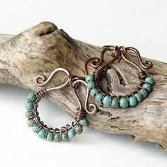 Beaded hoop earrings  turquoise stones copper wire by dalystudios