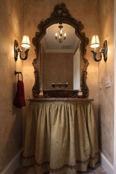 Skirted powder room sink