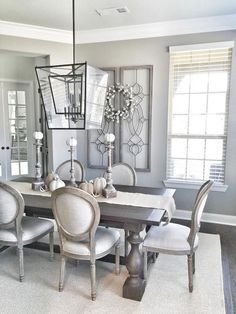 Marvelous Modern Farmhouse Dining Room Design Ideas - Page 26 of 120 Farmhouse Dining Room Table, Dining Room Table Decor, Elegant Dining Room, Beautiful Dining Rooms, Dining Room Design, Dining Room Furniture, Living Room Decor, Room Chairs, Rugs For Dining Room