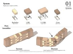 "Holcim Awards ""Next Generation"" prize 2014 North America: Timber-Link Interlocking panelized timber building system, Cape Dorset, NU, Canada Module Architecture, Architecture Concept Diagram, Architecture Details, Social Housing Architecture, Architecture Program, Building Systems, Building Design, Building Ideas, Tyni House"