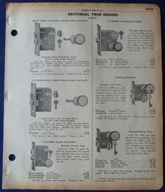 Corbin Door Locks Deadbolts Parts Vintage 1930s Union Hardware ...