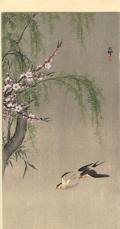 Two Barn Swallows in Flight, Willow Branch and Flowering Cherry above - Ohara Koson