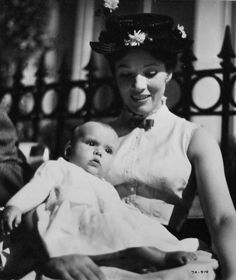 Julie Andrews with daughter Emma on the set of Mary Poppins (1964)