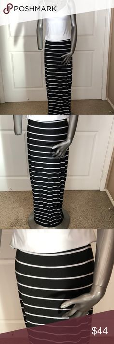 "Bailey 44 Striped Maxi Skirt 100% Rayon. Two layers of fabric...stripes on top, solid black underneath. Length is 41"". Worn several times but still in good condition. Bailey 44 is a top tier brand with a shop based in Los Angeles. Bailey 44 Skirts Maxi"