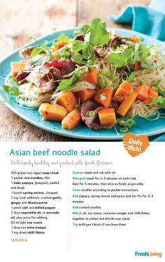 Who said eating healthy doesn't taste good? #Pawpaw is a #superfood boasting both #vitamins A and C. You can try using less oil to lower the fat content and #wholewheat #spaghetti to boost the fibre content in this #Asian beef #noodle salad.     #recipe #dailydish #picknpay