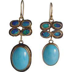 Judy Geib 4-Opal & Persian Turquoise Earrings