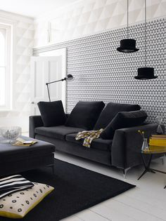 Geometric wallpaper, black and white, feature wall