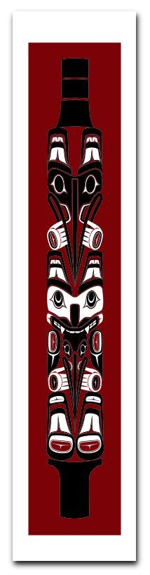 By Todd Jason Baker, Squamish Silkscreen Print limited to an edition of 200, each numbered, titled and signed by the artist. 'The Speaker's Staff #1 is a bold design of the original House Totem Poles of the Haida Gwaii