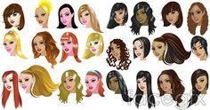 Cartoon woman big wavy ponytail hairstyles vector