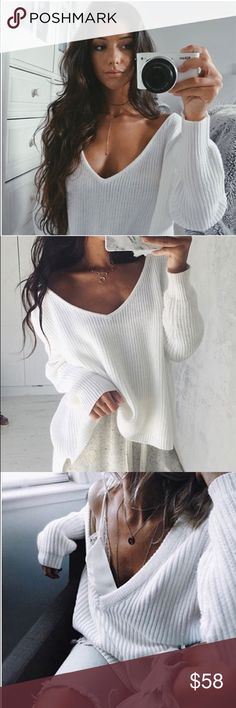 'Amanda' White High Low V-Neck Ivory Sweater Brand new. One size but fits XS-M  No trades  I ship same day ☝ I only sell on posh  I offer 10% off bundles of 3+ items ❓Comment with any questions! Sweaters V-Necks