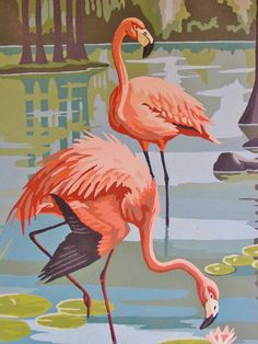 Original Pink Flamingo Painting MINT Paint by by bequirksy