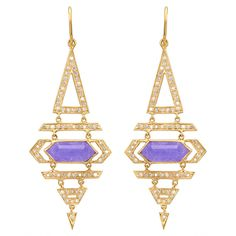 Heroine Earrings in Purple Jade and Diamonds