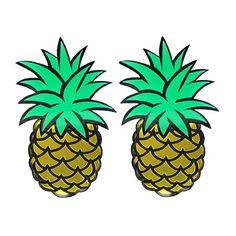 Pineapples! Earrings (790 MXN) ❤ liked on Polyvore featuring jewelry, earrings, acrylic earrings, lucite jewelry, lucite earrings, post earrings and pineapple earrings